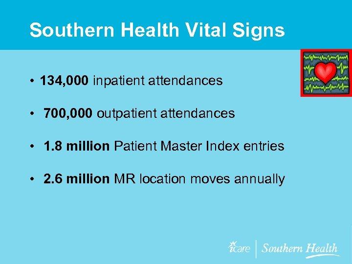 Southern Health Vital Signs • 134, 000 inpatient attendances • 700, 000 outpatient attendances