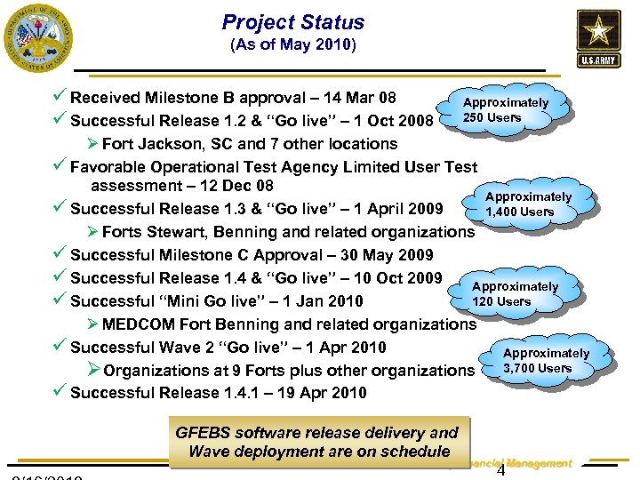 Project Status (As of May 2010) ü Received Milestone B approval – 14 Mar