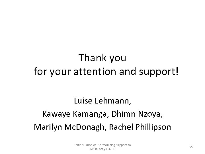 Thank you for your attention and support! Luise Lehmann, Kawaye Kamanga, Dhimn Nzoya, Marilyn