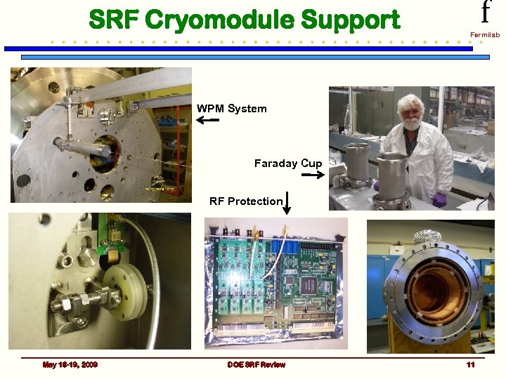 SRF Cryomodule Support f Fermilab WPM System Faraday Cup RF Protection May 18 -19,