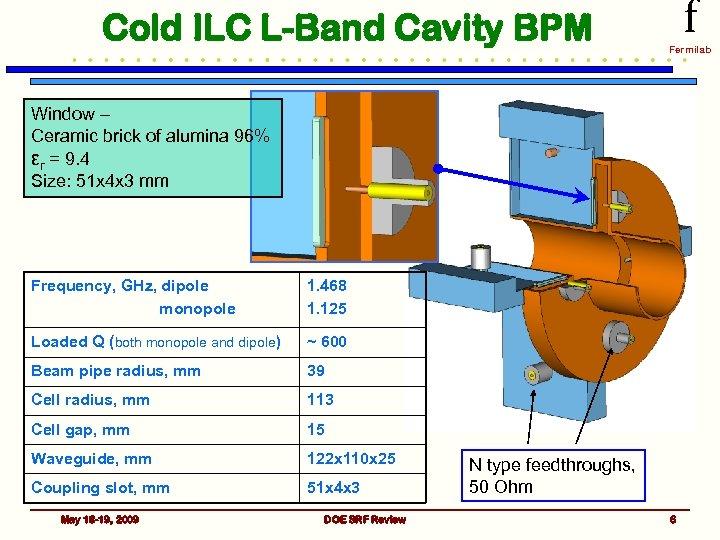 Cold ILC L-Band Cavity BPM f Fermilab Window – Ceramic brick of alumina 96%