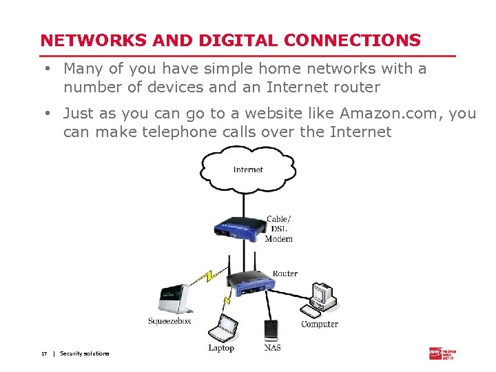 NETWORKS AND DIGITAL CONNECTIONS • Many of you have simple home networks with a