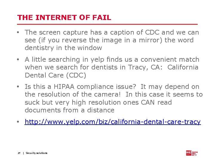 THE INTERNET OF FAIL • The screen capture has a caption of CDC and