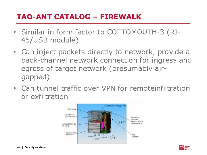 TAO-ANT CATALOG – FIREWALK • Similar in form factor to COTTOMOUTH-3 (RJ 45/USB module)