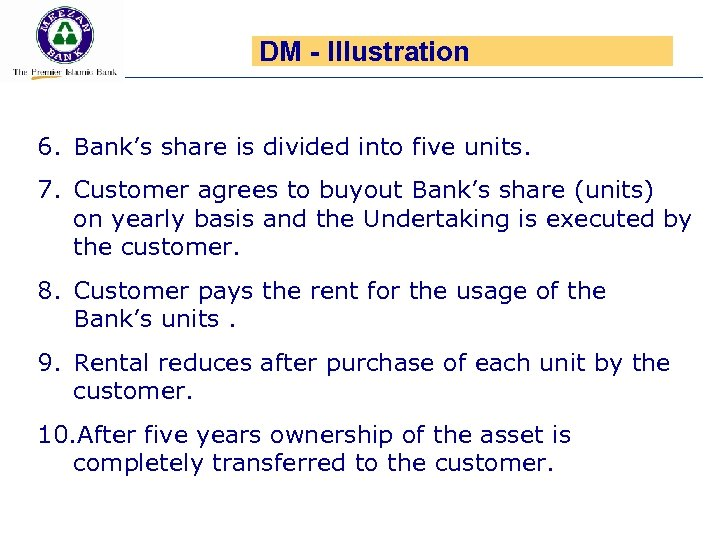 DM - Illustration 6. Bank's share is divided into five units. 7. Customer agrees