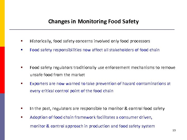Changes in Monitoring Food Safety § Historically, food safety concerns involved only food processors