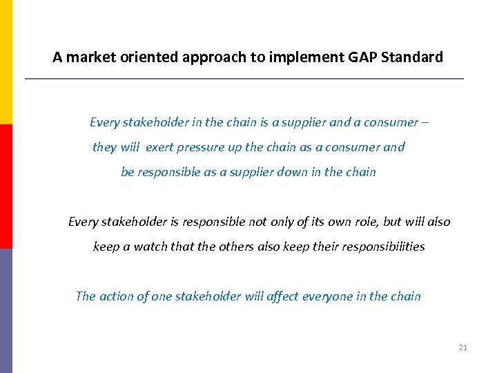 A market oriented approach to implement GAP Standard Every stakeholder in the chain is