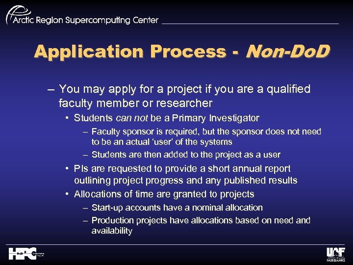 Application Process - Non-Do. D – You may apply for a project if you