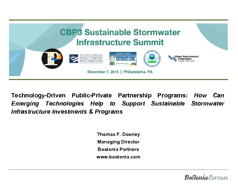 Technology-Driven Public-Private Partnership Programs: How Can Emerging Technologies Help to Support Sustainable Stormwater Infrastructure