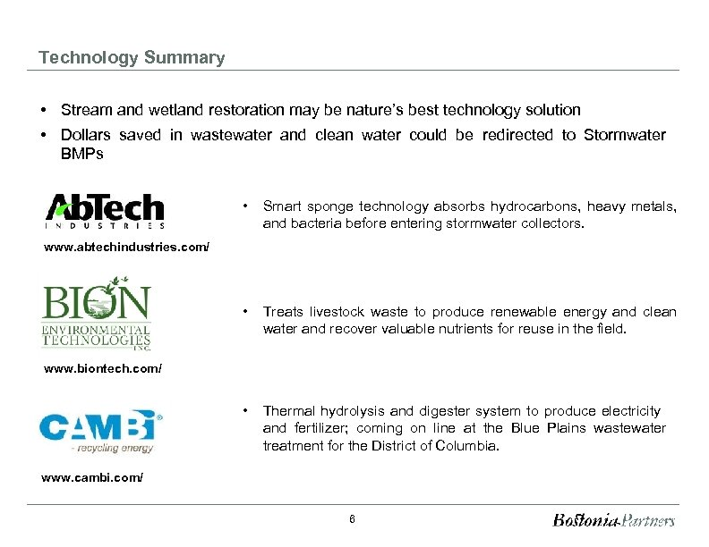 Technology Summary • Stream and wetland restoration may be nature's best technology solution •