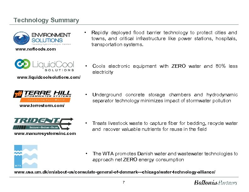 Technology Summary • Rapidly deployed flood barrier technology to protect cities and towns, and