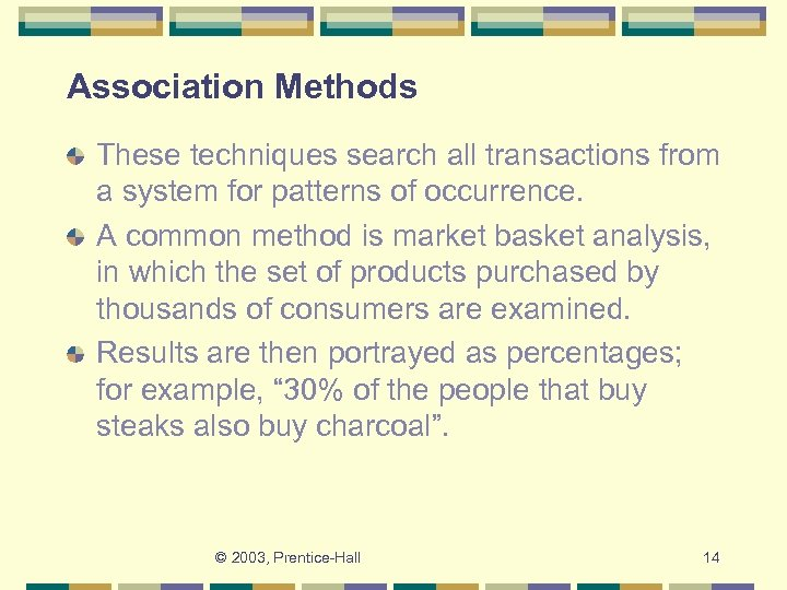 Association Methods These techniques search all transactions from a system for patterns of occurrence.