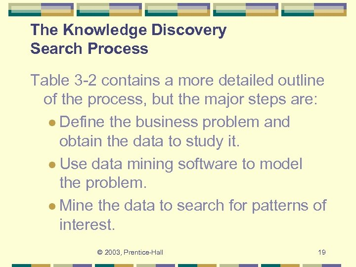 The Knowledge Discovery Search Process Table 3 -2 contains a more detailed outline of