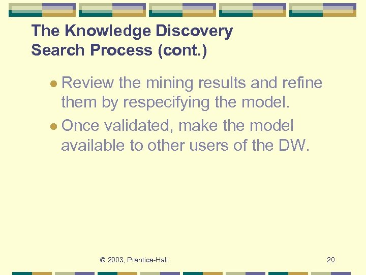 The Knowledge Discovery Search Process (cont. ) l Review the mining results and refine