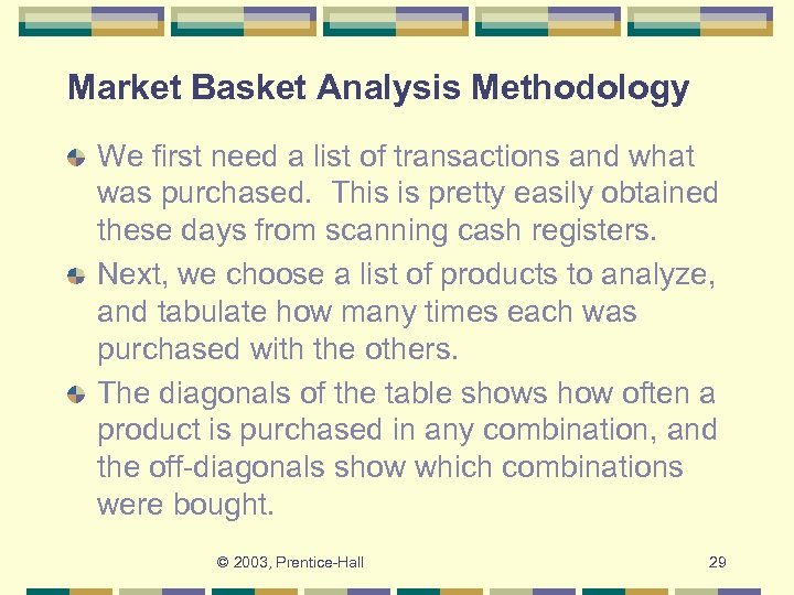 Market Basket Analysis Methodology We first need a list of transactions and what was