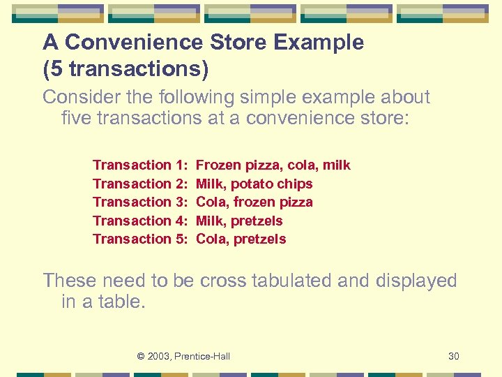 A Convenience Store Example (5 transactions) Consider the following simple example about five transactions