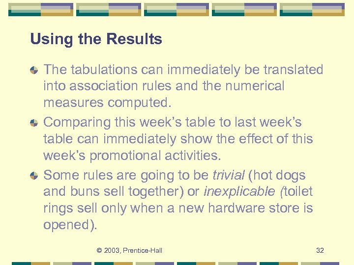 Using the Results The tabulations can immediately be translated into association rules and the