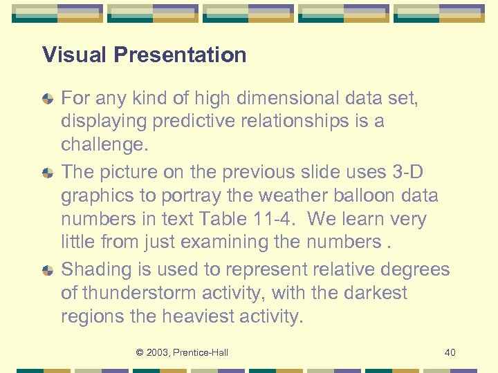 Visual Presentation For any kind of high dimensional data set, displaying predictive relationships is