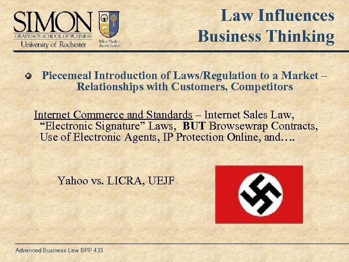 Law Influences Business Thinking Piecemeal Introduction of Laws/Regulation to a Market – Relationships with