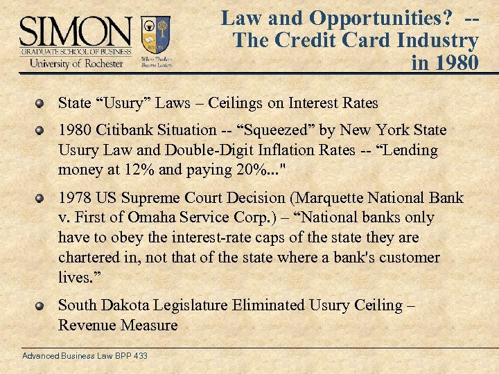 "Law and Opportunities? -The Credit Card Industry in 1980 State ""Usury"" Laws – Ceilings"