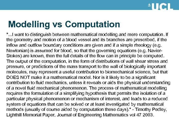 Modelling vs Computation