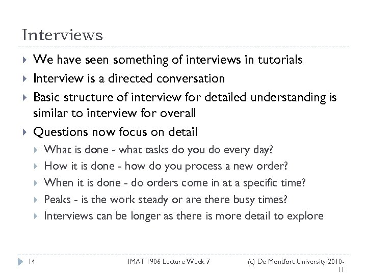 Interviews We have seen something of interviews in tutorials Interview is a directed conversation