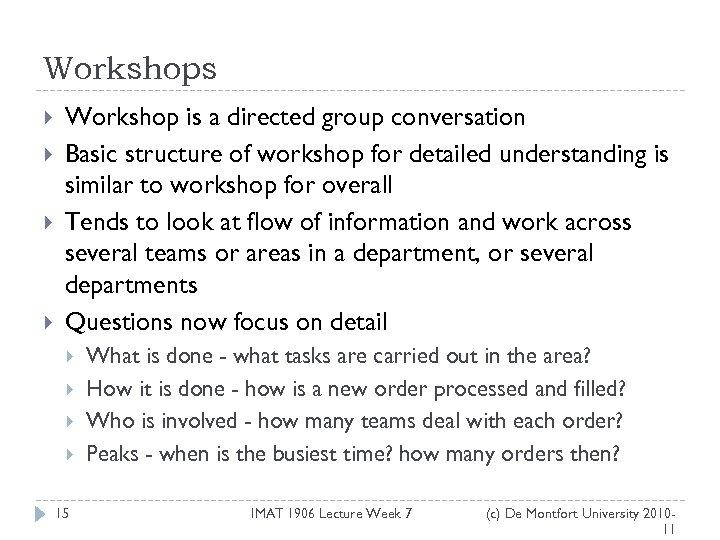 Workshops Workshop is a directed group conversation Basic structure of workshop for detailed understanding