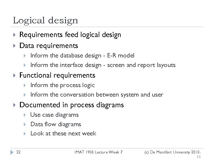 Logical design Requirements feed logical design Data requirements Functional requirements Inform the database design