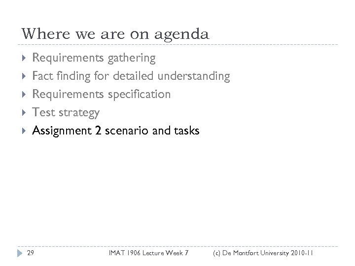 Where we are on agenda Requirements gathering Fact finding for detailed understanding Requirements specification