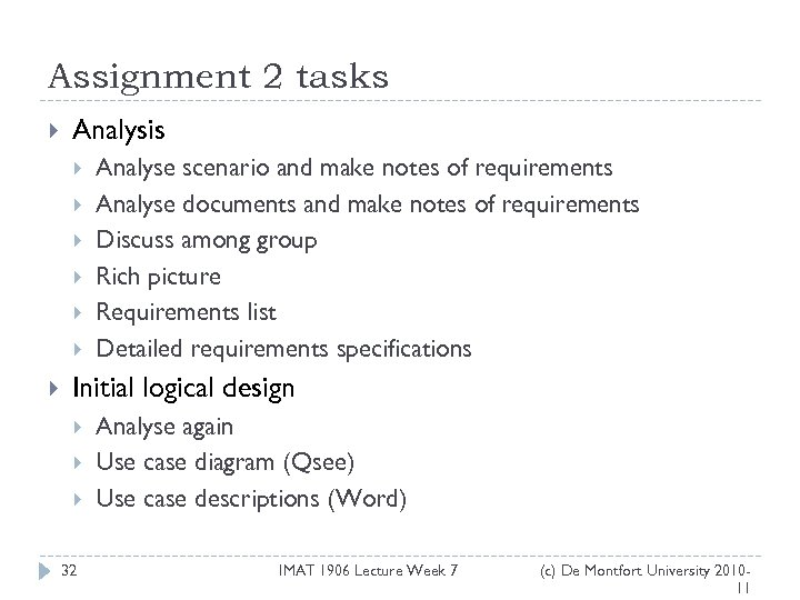 Assignment 2 tasks Analysis Analyse scenario and make notes of requirements Analyse documents and