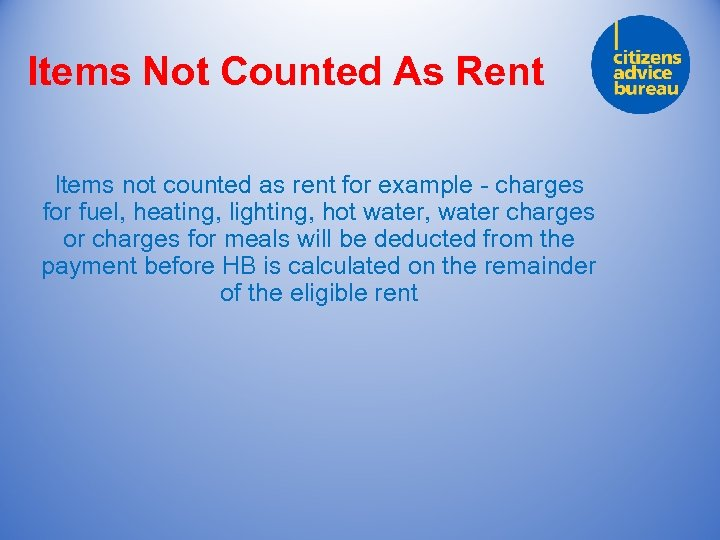 Items Not Counted As Rent Items not counted as rent for example - charges