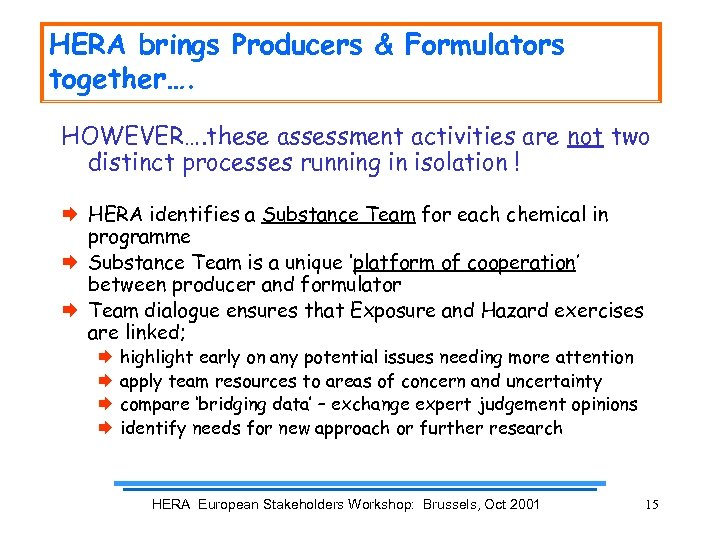 HERA brings Producers & Formulators together…. HOWEVER…. these assessment activities are not two distinct