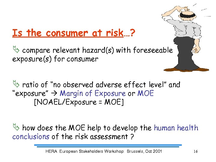 Is the consumer at risk…? Ä compare relevant hazard(s) with foreseeable exposure(s) for consumer