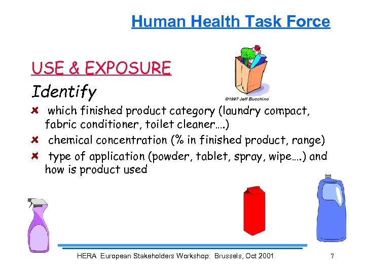 Human Health Task Force USE & EXPOSURE Identify which finished product category (laundry compact,