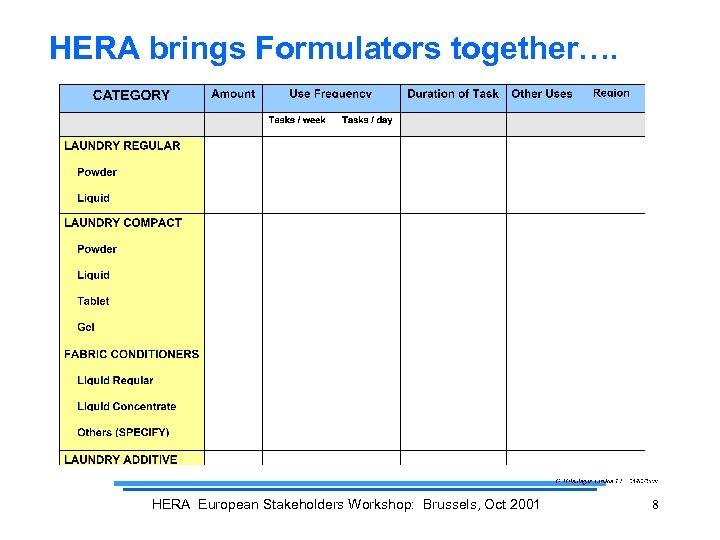 HERA brings Formulators together…. HERA European Stakeholders Workshop: Brussels, Oct 2001 8