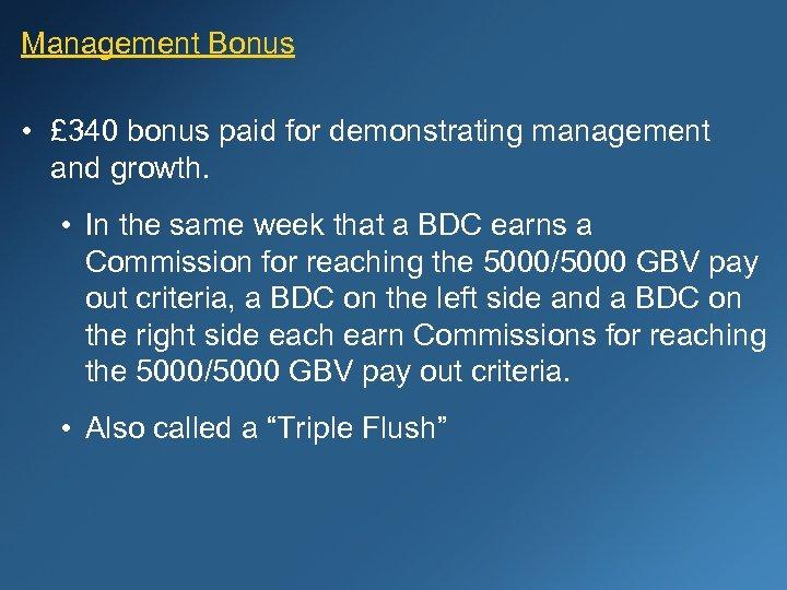 Management Bonus • £ 340 bonus paid for demonstrating management and growth. • In