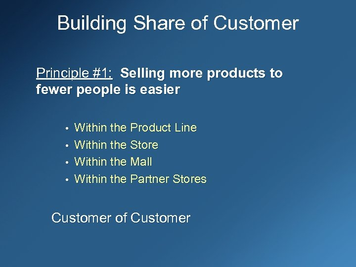 Building Share of Customer Principle #1: Selling more products to fewer people is easier