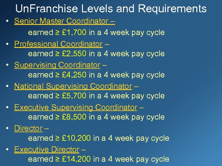Un. Franchise Levels and Requirements • Senior Master Coordinator – earned ≥ £ 1,