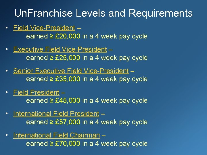 Un. Franchise Levels and Requirements • Field Vice-President – earned ≥ £ 20, 000