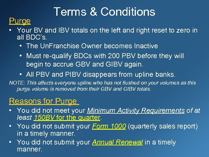Purge Terms & Conditions • Your BV and IBV totals on the left and