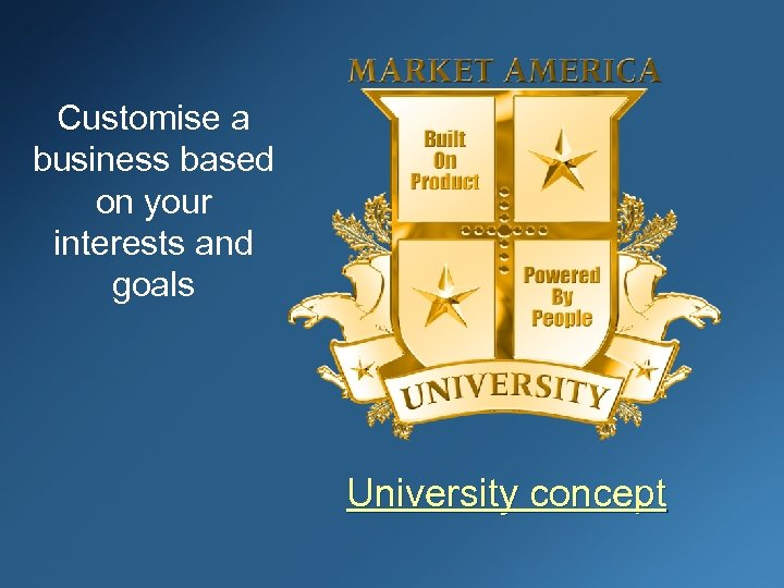 Customise a business based on your interests and goals University concept