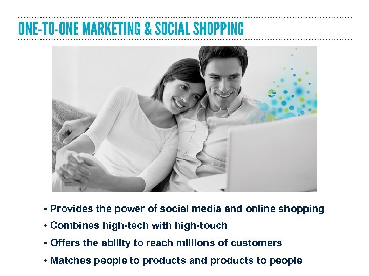 • Provides the power of social media and online shopping • Combines high-tech