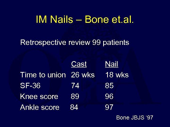 IM Nails – Bone et. al. Retrospective review 99 patients Cast Time to union