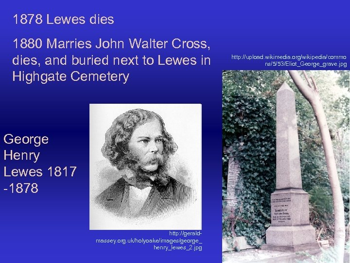 1878 Lewes dies 1880 Marries John Walter Cross, dies, and buried next to Lewes