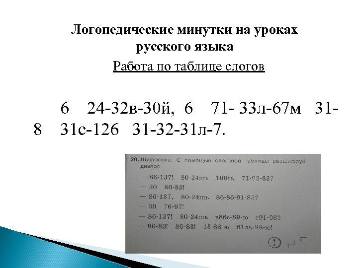 Логопедические минутки на уроках русского языка Работа по таблице слогов 8 6 24 -32