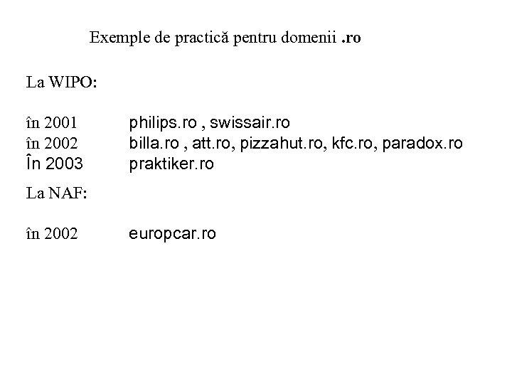 Exemple de practică pentru domenii. ro La WIPO: în 2001 în 2002 În 2003