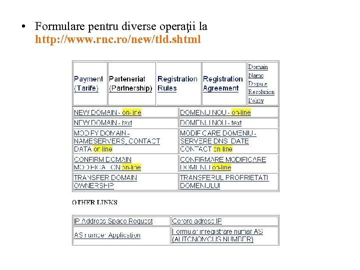 • Formulare pentru diverse operaţii la http: //www. rnc. ro/new/tld. shtml