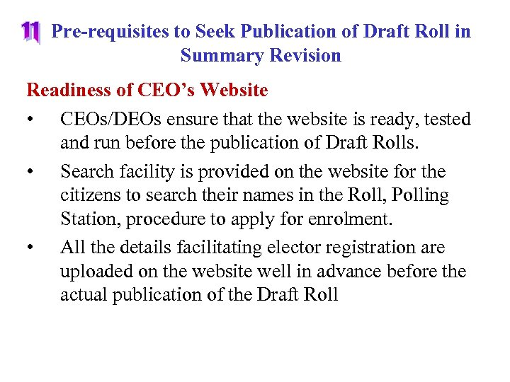 Pre-requisites to Seek Publication of Draft Roll in Summary Revision Readiness of CEO's Website