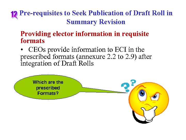 Pre-requisites to Seek Publication of Draft Roll in Summary Revision Providing elector information in