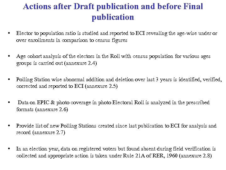 Actions after Draft publication and before Final publication • Elector to population ratio is